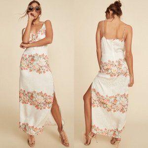 LPA White Floral-print Silk Dress